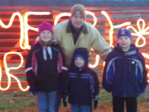 My chilly (and blurry!) hubs & kids.