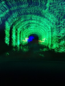 Driving through the tunnel of lights as we leave.